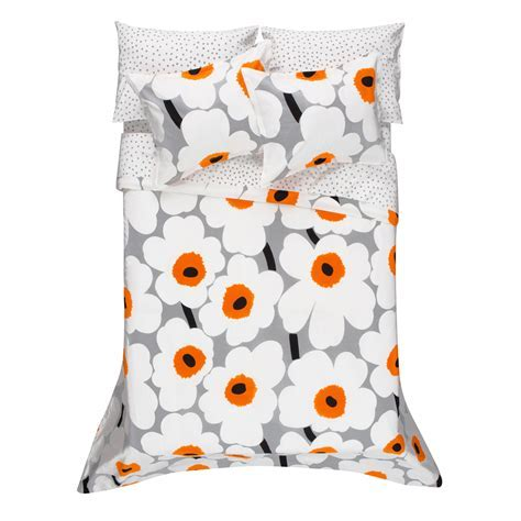 Marimekko Unikko Grey/White/Orange Percale Bedding