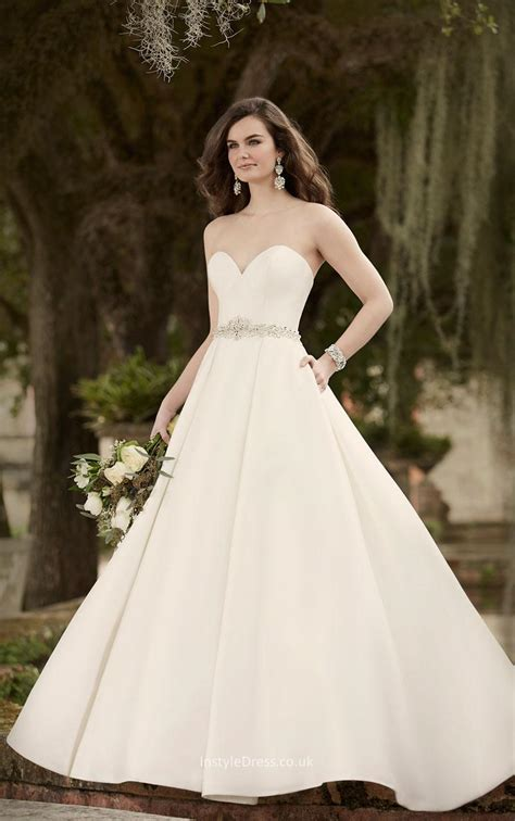Strapless Sweetheart Sophisticated Ivory Satin Ball Gown