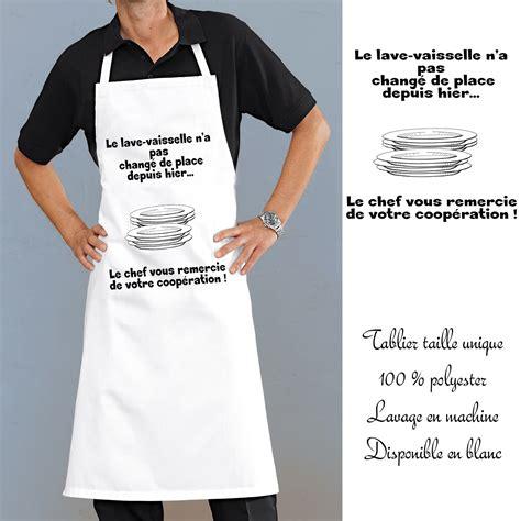 tablier de cuisine personnalisé homme tablier cuisine lave vaisselle avec message rigolo en