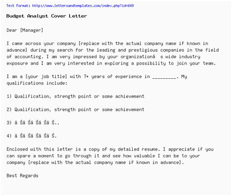 Budget Analyst Cover Letter by Budget Analyst Cover Letter Application Letter