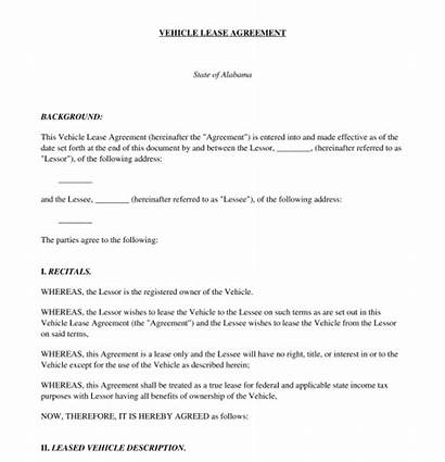 Agreement Lease Vehicle Template Legal Pdf Word