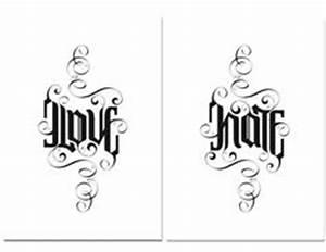 Tattoos Für Glastüren : love hate ambigram passions pinterest tattoo ideen schriftzug und schrift ~ Frokenaadalensverden.com Haus und Dekorationen