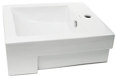 Square Semi-recessed Ceramic Bathroom Sink-contemporary