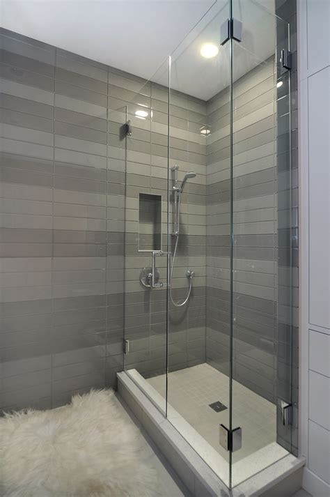 contemporary bathroom tile ideas contemporary shower with striped tile detail by johnson associates interior design johnson