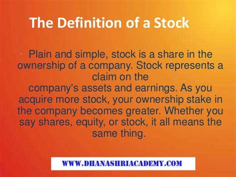 the definition of a stock