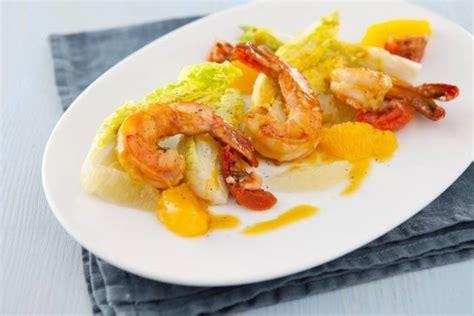 formation cuisine gastronomique recette de salade de gambas vinaigrette onctueuse orange