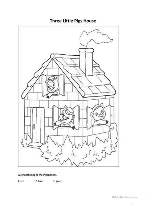 Three Little Pigs House worksheet Free ESL printable