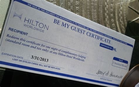 hilton be my guest certificate loyaltylobby