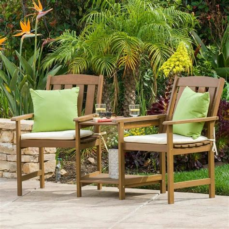 outdoor wood adjoining  seater chairs  cushions ebay