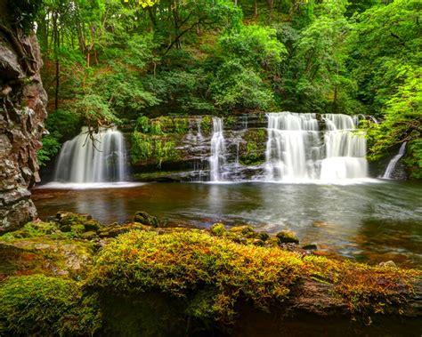 Nature Green Cascading Waterfall Hd Wallpaper For Desktop ...