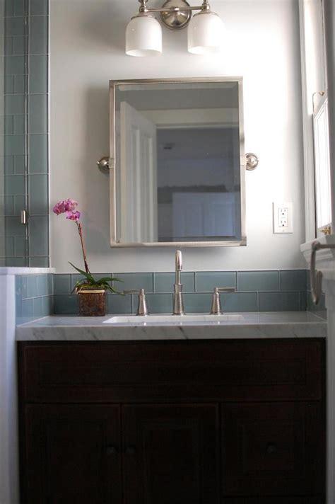 How To Install Glass Tile Backsplash In Bathroom by Glass Subway Tile Bathroom Backsplash Subway Tile