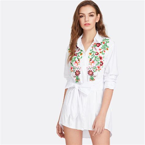 White Embroidered Shirt Dress - Shop That Outfit