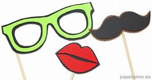 Photocall con plantillas para imprimir (gafas, bigote y labios) PAPELISIMO