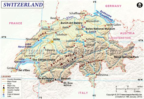 Rhythm And Alps Travel Map Directions And Location Switzerland Map Europe