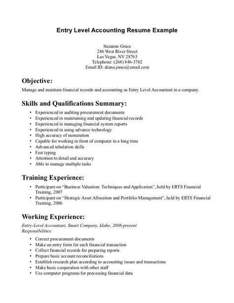 Accounting Resume Objective by Entry Level Accounting Resume Exles Resume