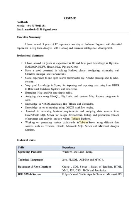 28 hadoop developer resume hadoop resume out of darkness