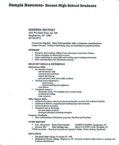 Resume For Highschool Graduate by 8 Sle High School Graduate Resumes Sle Templates