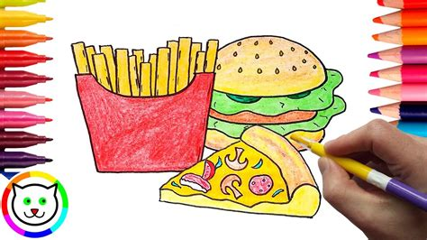 How To Draw Pizza, Hamburger, French Fries Coloring Pages