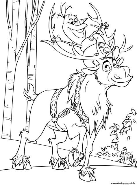 snowman olaf  sven reindeer coloring pages printable