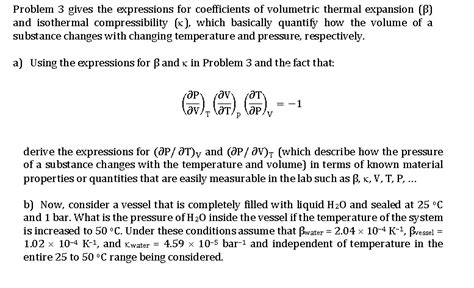 solved  coefficients  volumetric thermal expansion