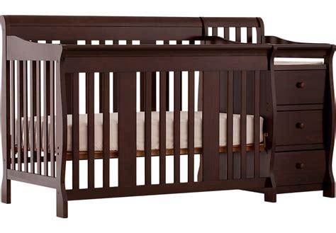 baby crib with changer portofino espresso crib and changer combo cribs wood