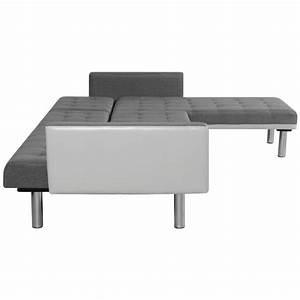 Canapé Lit Gris : acheter vidaxl canap lit en forme de l tissu blanc et gris pas cher ~ Teatrodelosmanantiales.com Idées de Décoration
