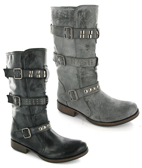 womens biker boots fashion womens biker boots studded pull on black fashion boots uk