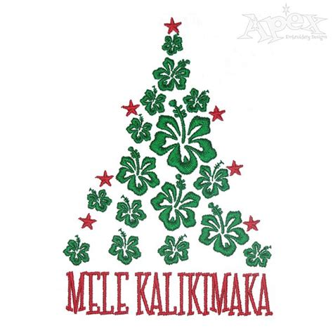 mele kalikimaka christmas tree embroidery designs