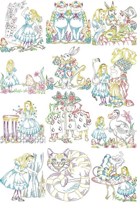 alice  wonderland machine embroidery designs  sew swell