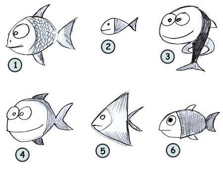 draw  fish   draw fish drawings easy