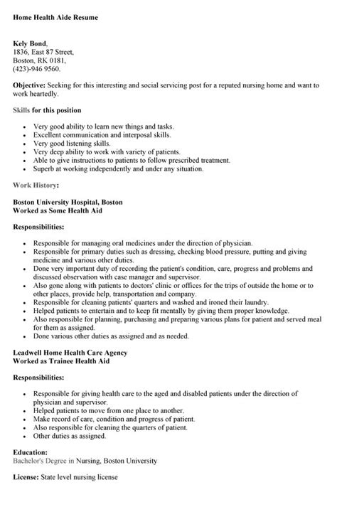 home health aide resume sle hha resume basic hha