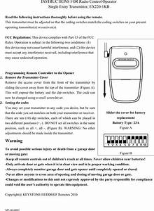 Keystone Heddolf Ex220433 Fix Code Transmitter User Manual