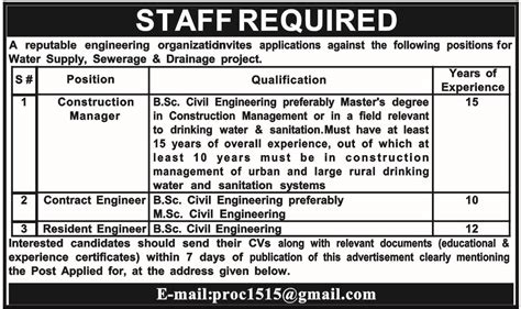 Construction Manager, Contract Engineer, Resident Engineer