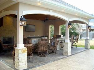 Pool House With Outdoor Kitchen & Fireplace In Cypress