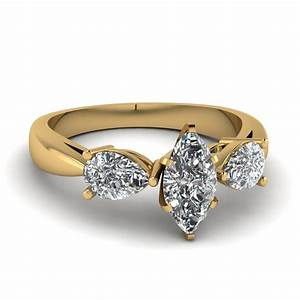 Tear drop 3 stone marquise cut engagement ring in 14k for Gold marquise wedding rings