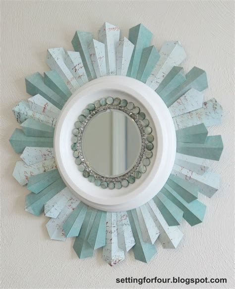 diy sunburst mirror  scrapbook paper photo