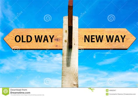 Old Way And New Way Signs Stock Illustration Illustration