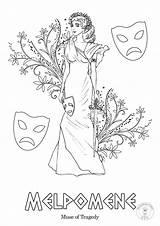 Greek Coloring Muses Mythology Goddesses Nine sketch template