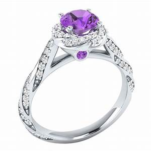 14k white gold 118 ct real purple amethyst certified With purple diamond wedding ring