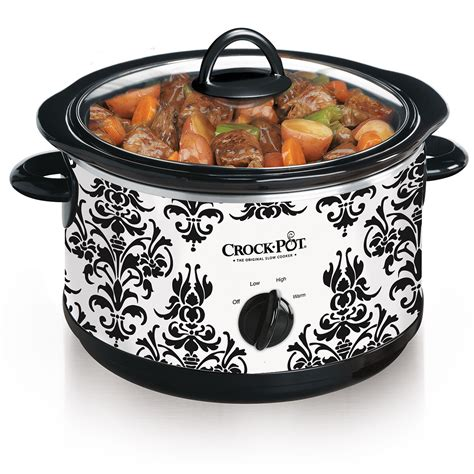 crock pot cooker crock pot 174 manual slow cooker with damask pattern at crock pot com