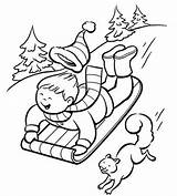 Sledding Coloring Winter Pages Printable Slope Down Printables Parents sketch template