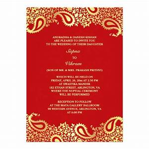 paisleys elegant indian wedding flat invitation 5quot x 7 With inexpensive indian wedding invitations