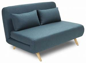 Canape convertible modulable 2 places john couleur bleu for Banquette convertible lit 2 places