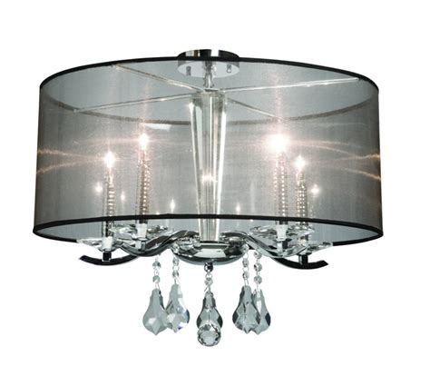 Home Depot Drum Light by Four Light Chrome Organza Shade Drum Shade Semi Flush
