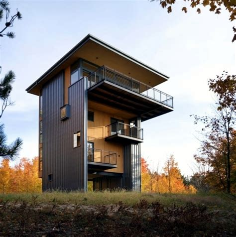 hillside cabin plans architect wooden house concept of small plots