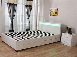 Lit 140 X 200 : lit led nico 140 x 200 cm blanc 85403 85404 ~ Teatrodelosmanantiales.com Idées de Décoration