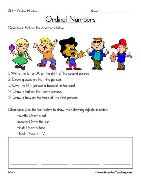 ordinal numbers worksheet have fun teaching