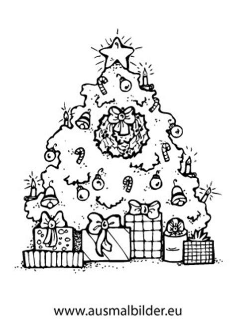 ausmalbilder weihnachtsbaum mit geschenken