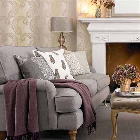 tonal grey paisley living room decorating ideal home
