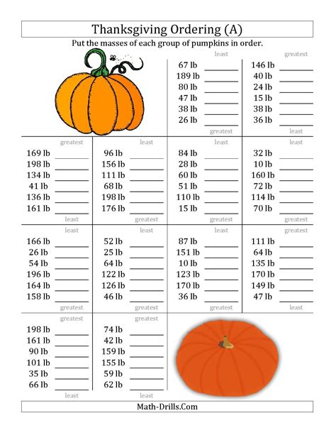 the ordering pumpkin masses in pounds a math worksheet from the thanksgiving math worksheet